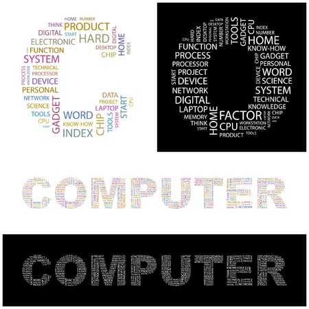 office automation: COMPUTER. Word collage. illustration.