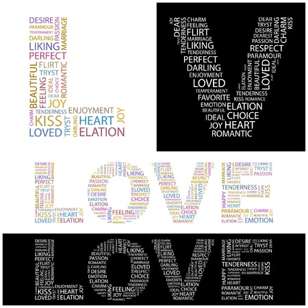 LOVE. Word collage. illustration.    Vector