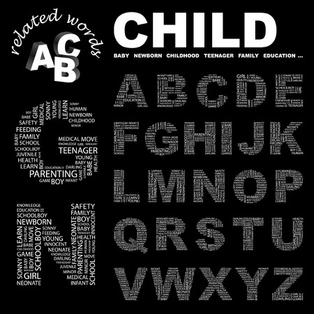 bambino: CHILD.  letter collection. Word cloud illustration.