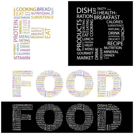 potluck: FOOD. Word collage.  illustration.