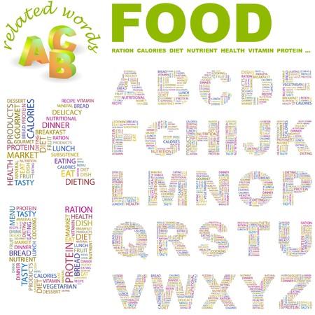 퓌레: FOOD. letter collection. Word cloud illustration.   일러스트