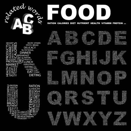potluck: FOOD. letter collection. Word cloud illustration.   Illustration