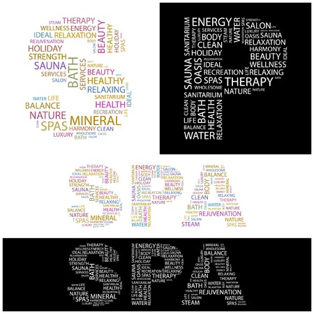 steam bath: SPA. Word collage.  illustration.