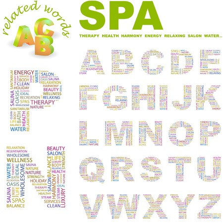 steam bath: SPA.  letter collection. Word cloud illustration.   Illustration