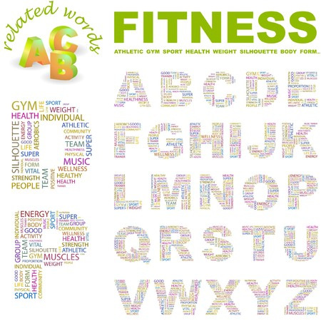 FITNESS.  letter collection. Word cloud illustration.   Vector