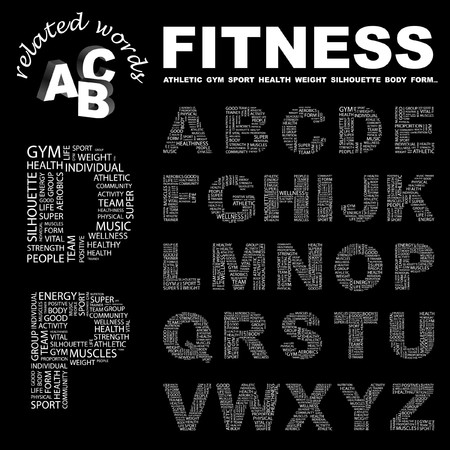 salubrity: FITNESS. letter collection. Word cloud illustration.