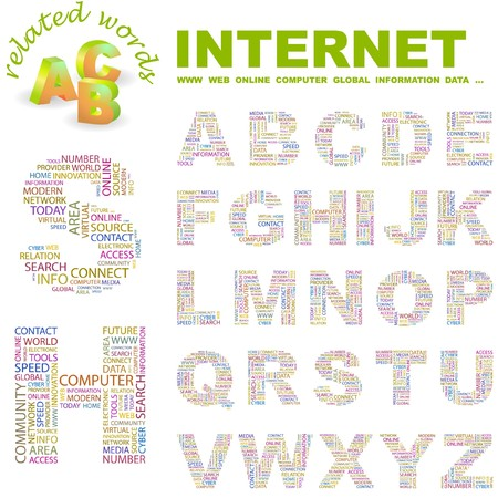 INTERNET. letter collection. Word cloud illustration.   Stock Vector - 6921370