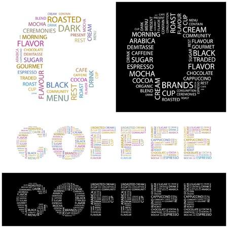 demitasse: CAFF�. Parola di collage. illustrazione.