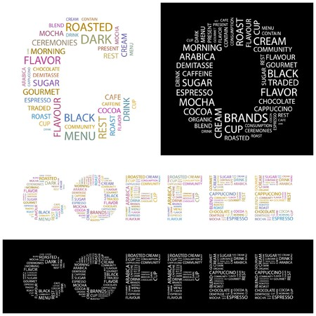 COFFEE. Word collage. illustration.    Stock Vector - 6914852