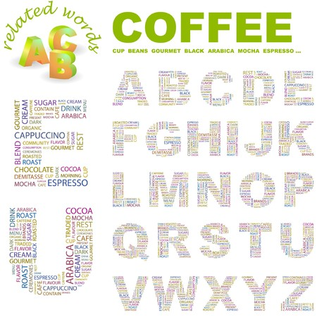 demitasse: COFFEE.  letter collection. Word cloud illustration.