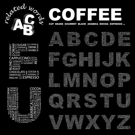 buff: COFFEE. letter collection. Word cloud illustration.