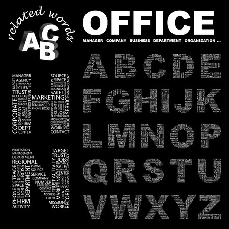 regional product: OFFICE.  letter collection. Word cloud illustration.   Illustration