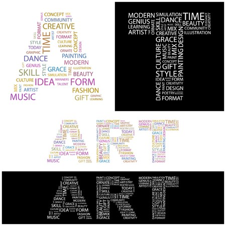 umgangsformen: KUNST. Word Collage.  Abbildung.    Illustration