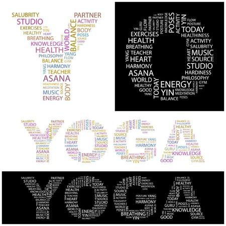 YOGA. Word collage. illustration. Stock Vector - 6914819