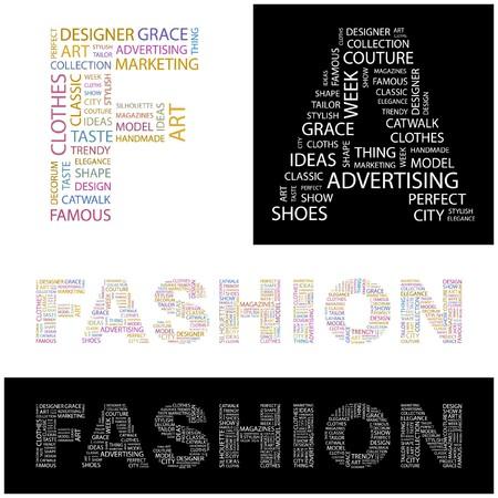 FASHION. Word collage. illustration.