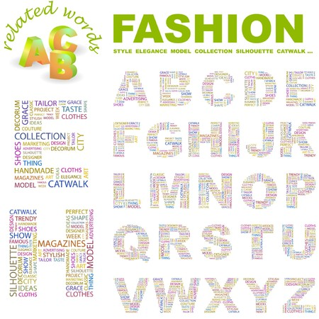 FASHION. letter collection. Word cloud illustration.