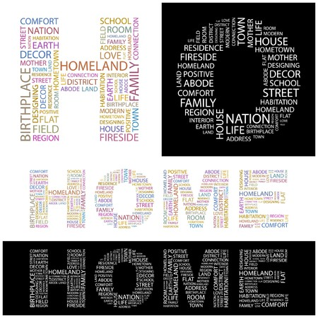 birthplace: HOME. Word collage.  illustration.