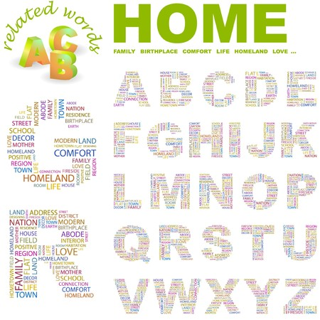 HOME.  letter collection. Word cloud illustration. Stock Vector - 6920596