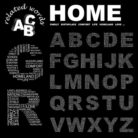 birthplace: HOME.  letter collection. Word cloud illustration.   Illustration
