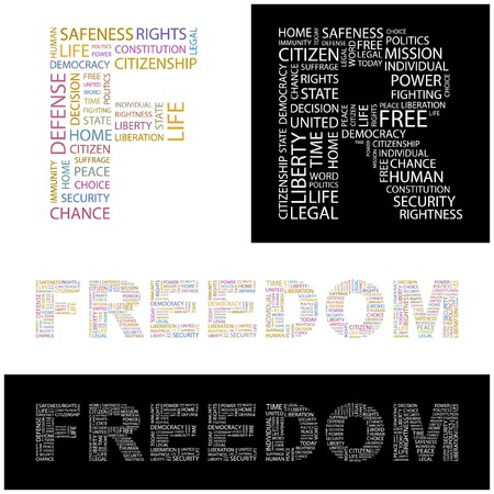 suffrage: FREEDOM. Word collage.  illustration.