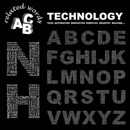 TECHNOLOGY.  letter collection. Word cloud illustration.   Vector