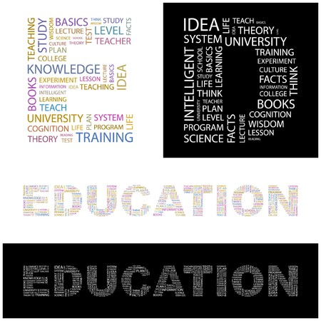 EDUCATION. Word collage.  illustration.    Vector