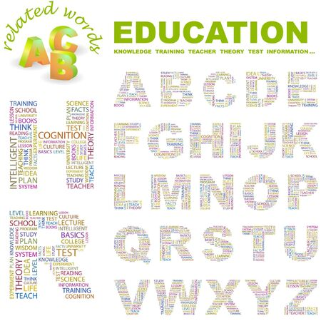 EDUCATION. letter collection. Word cloud illustration. Stock Vector - 6920690