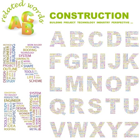 CONSTRUCTION. letter collection. Word cloud illustration.   Vector