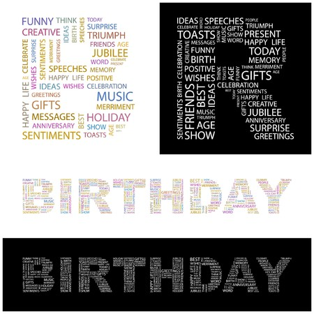 merriment: BIRTHDAY. Word collage. illustration.