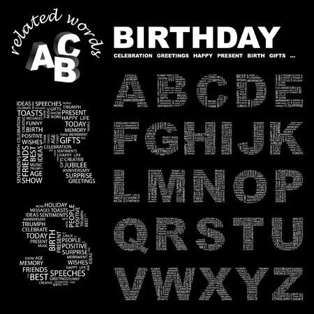 BIRTHDAY. letter collection. Word cloud illustration.