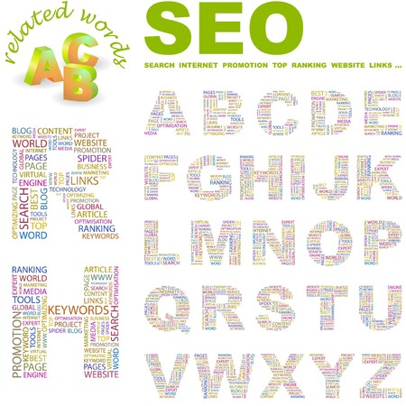 SEO. letter collection. Word cloud illustration. Stock Vector - 6921091