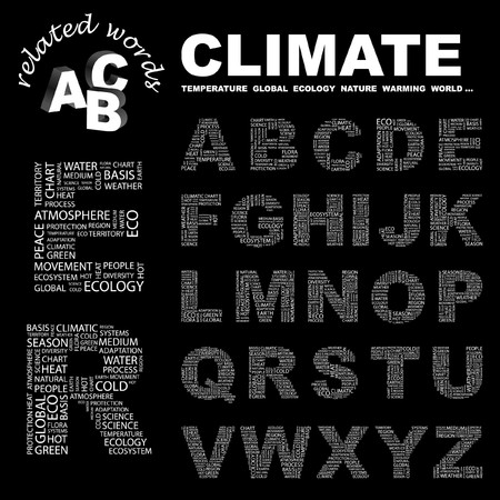 CLIMATE.  letter collection. Word cloud illustration.
