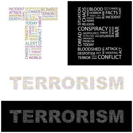 TERRORISM. Word collage.  illustration.    Vector