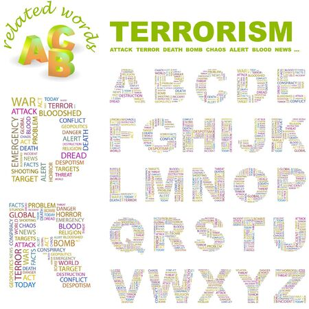 patriot act: TERRORISM.  letter collection. Word cloud illustration.