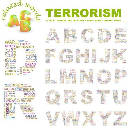 bloodshed: TERRORISMO. colecci�n de la Carta. Ilustraci�n de la nube de Word.
