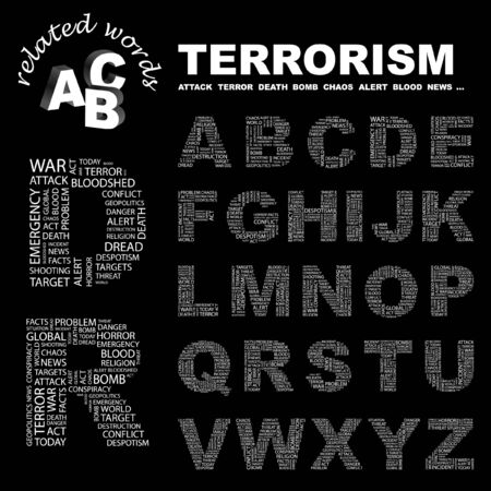 despotism: TERRORISM. letter collection. Word cloud illustration.