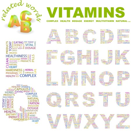 hardiness: VITAMINS.  letter collection. Word cloud illustration.   Illustration