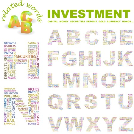 debt collection: INVESTMENT.  letter collection. Word cloud illustration.   Illustration