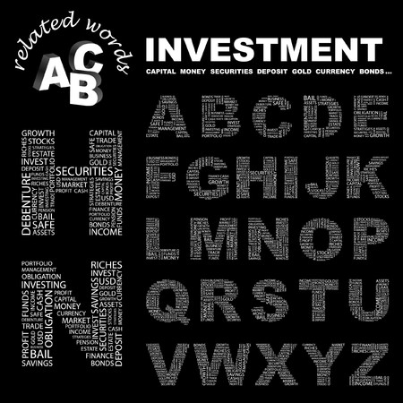 installment: INVESTMENT. letter collection. Word cloud illustration.