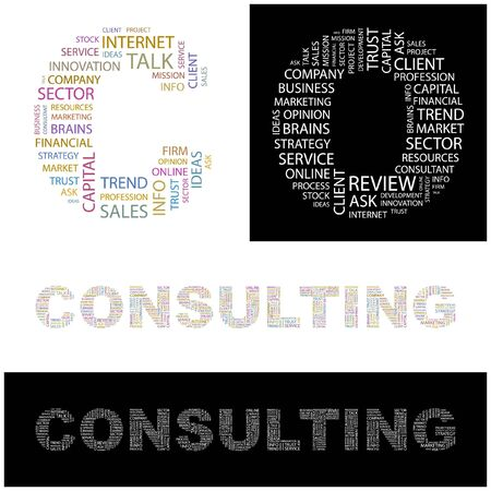 CONSULTING. Word collage.  illustration.    Vector