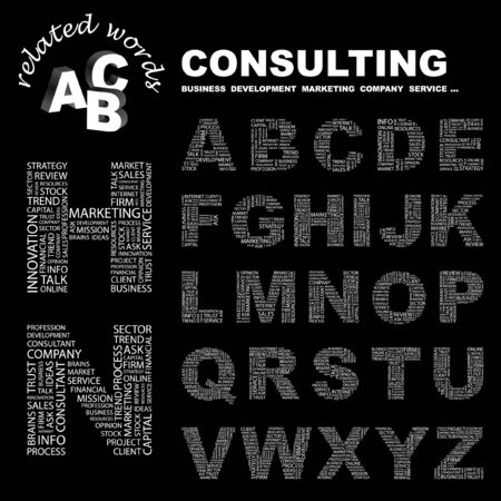 CONSULTING.  letter collection. Word cloud illustration.   Vector