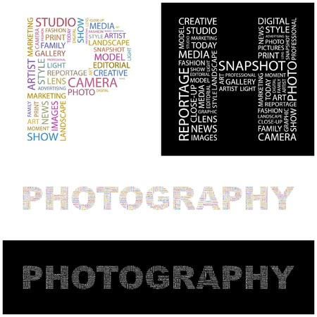 word art: PHOTOGRAPHY. Word collage. illustration.