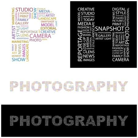 photography studio: PHOTOGRAPHY. Word collage. illustration.