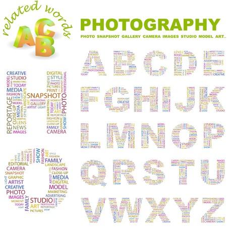 photo artistique: PHOTOGRAPHIE. collection de la lettre. Illustration du nuage de Word.