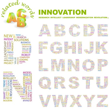 INNOVATION. letter collection. Word cloud illustration.   Vector
