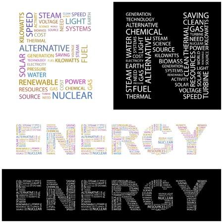steam turbine: ENERGY. Word collage.  illustration.    Illustration