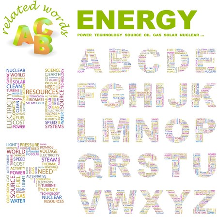 ENERGY. letter collection. Word cloud illustration.   Stock Vector - 6921547