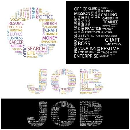 lifework: JOB. Word collage.  illustration.    Illustration