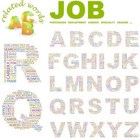 lifework: JOB.  letter collection. Word cloud illustration.