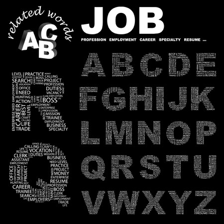 lifework: JOB. letter collection. Word cloud illustration.   Illustration